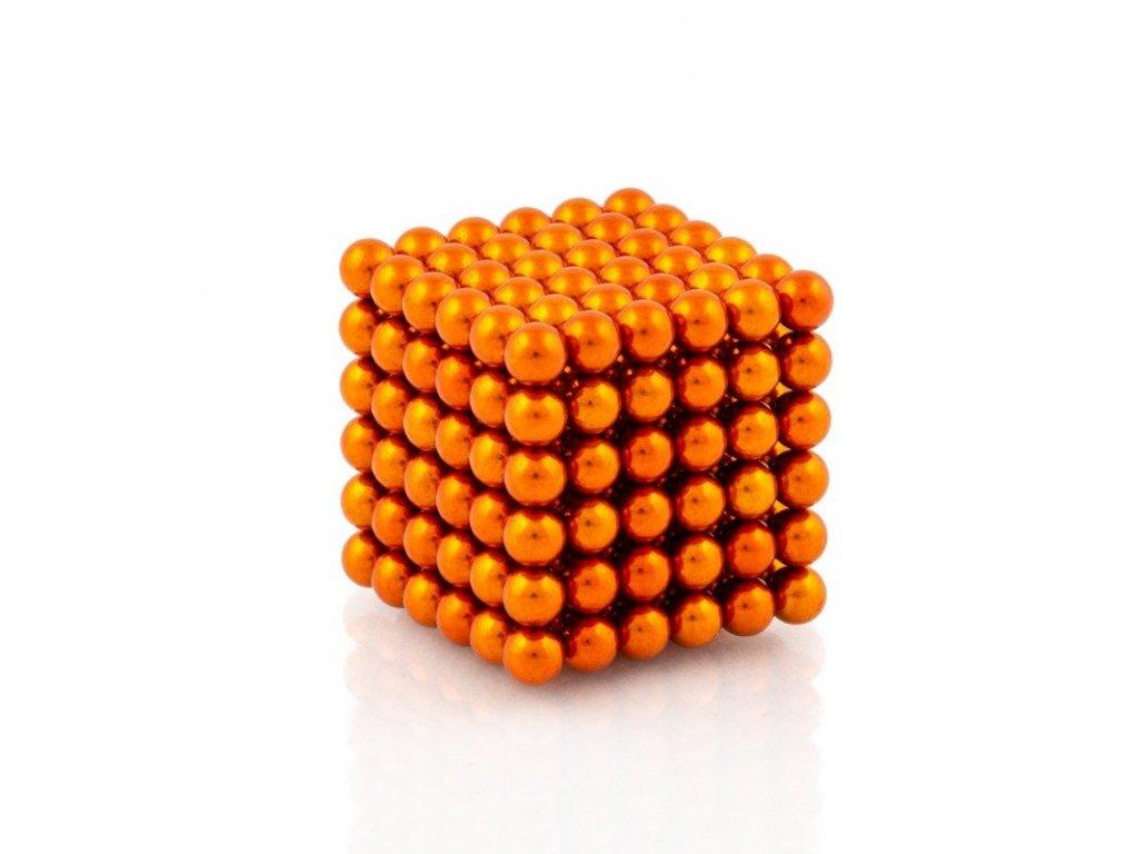 Magnetické kuličky oranžové – magnetická stavebnice, 216 kuliček