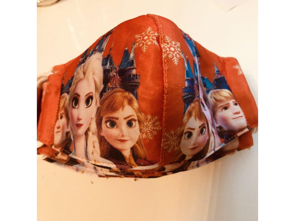 Rouška dětská Frozen Anna a Elsa DVOUVRSTVÁ