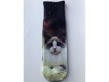 Dámské ponožky s celopotiskem zvířátek, velikost 35-38 Kočka