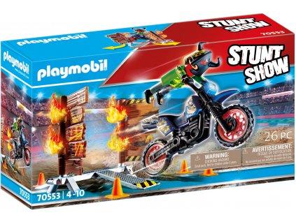Playmobil Stunt show 70553 Kaskadérská show Motorka s ohnivou stěnou