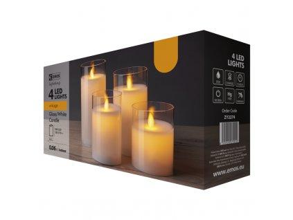 LED svíčky, 5x10/12,5/15/17,5cm, bílé, 2x AA, 4 ks