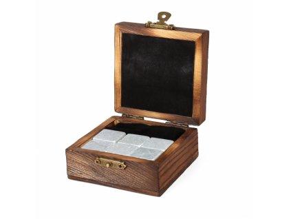 CHLADÍCÍ KAMENY DO WHISKEY v dřevěné krabičce