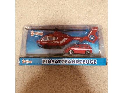 Sada záchranáři helikoptéra 18cm + auto 7,5cm kov 2druhy v krabičce