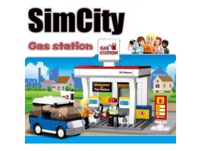 Brick SLUBAN Town Sim City B0568 Gas Station Lego