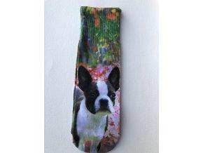 Dámské ponožky s celopotiskem zvířátek, velikost 38-41 Buldoček
