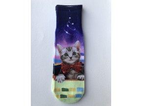 Dámské ponožky s celopotiskem zvířátek, velikost 38-41 Kočka