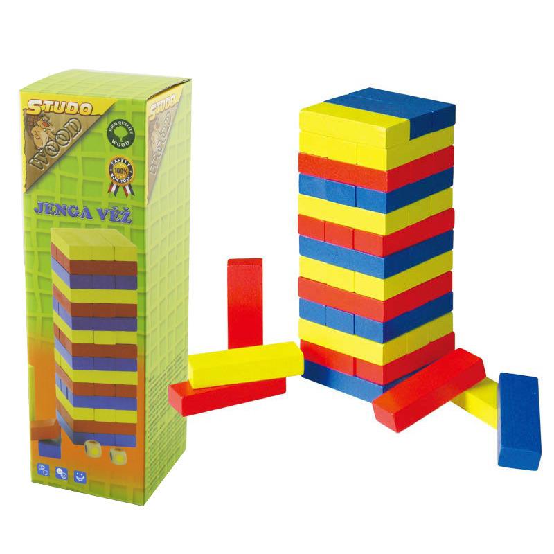 All4toys Jenga věž dřevěná - barevná