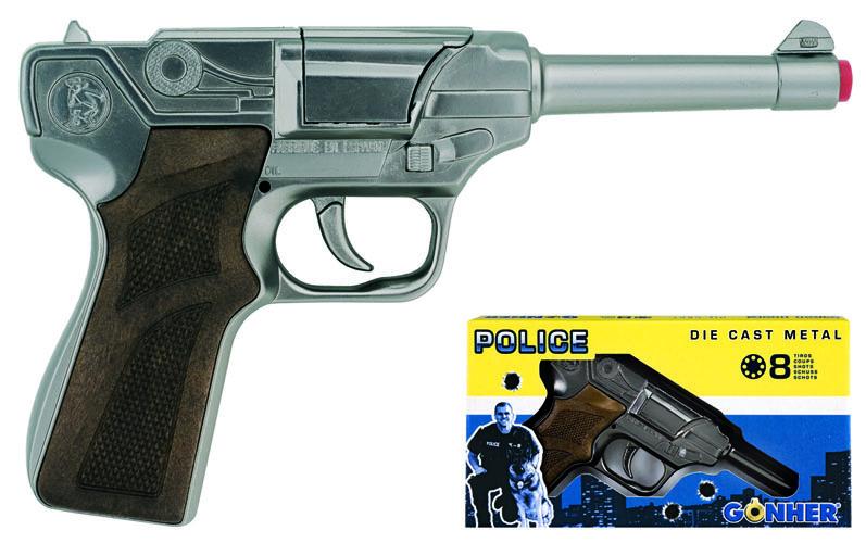 All4toys Gonher Policejní pistole stříbrná kovová 8 ran