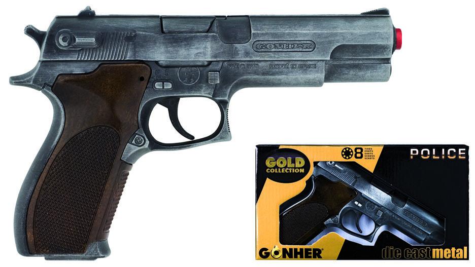 All4toys Gonher 45/1 Policení pistole Gold colection stříbrná kovová 8 ran