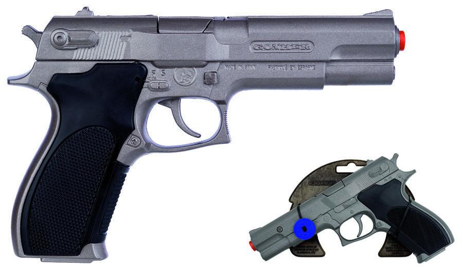 All4toys Gonher Policejní pistole stříbrná matná kovová 8 ran
