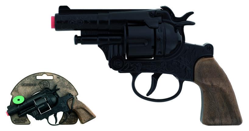 All4toys Gonher Policejní revolver černý kovový 12 ran