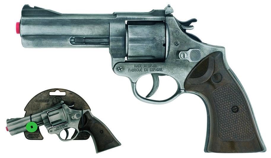 All4toys Gonher Policejní revolver Gold colection stříbrný kovový 12 ran
