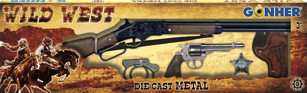 All4toys Gonher Kovbojská sada velká - puška, revolver, pouta, šerifská hvěz