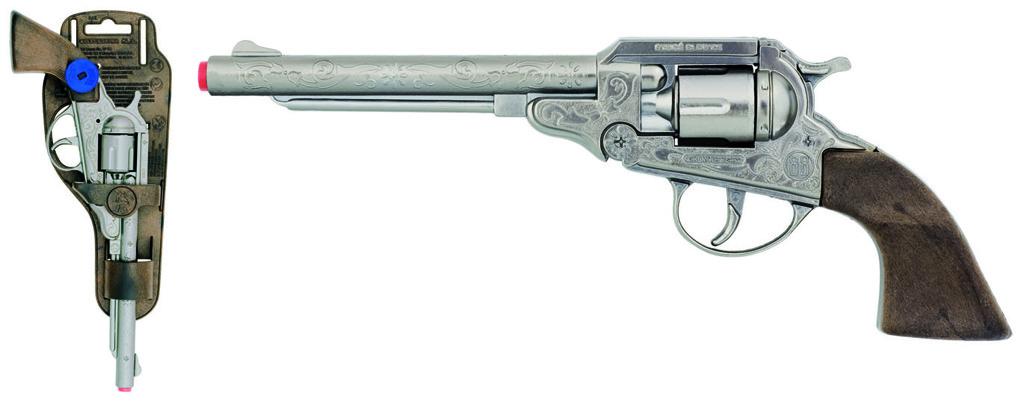 All4toys Gonher Revolver kovbojský stříbrný, kovový - 8 ran