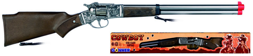 All4toys Gonher Puška kovbojská stříbrná kovová - 8 ran