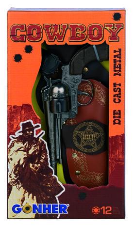 All4toys Kovbojská sada - revolever + šerifská hvězda kovový 12 ran