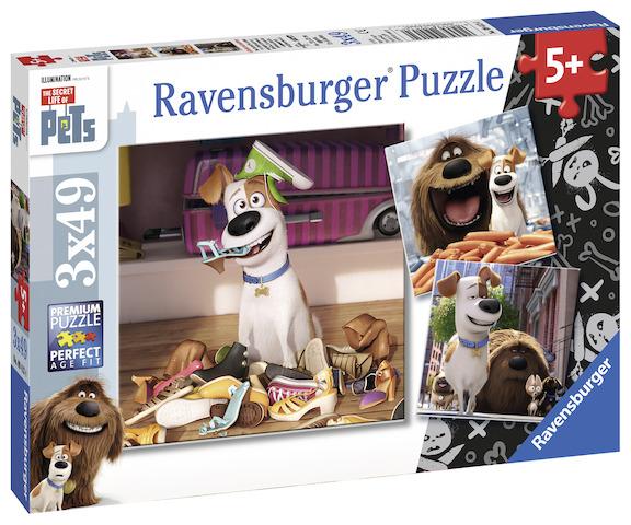 Ravensburger Puzzle 3x49 dílků Tajný život mazlíčků