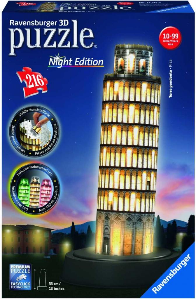 Ravensburger 3D puzzle Pisa Noční svítící 216 dílků