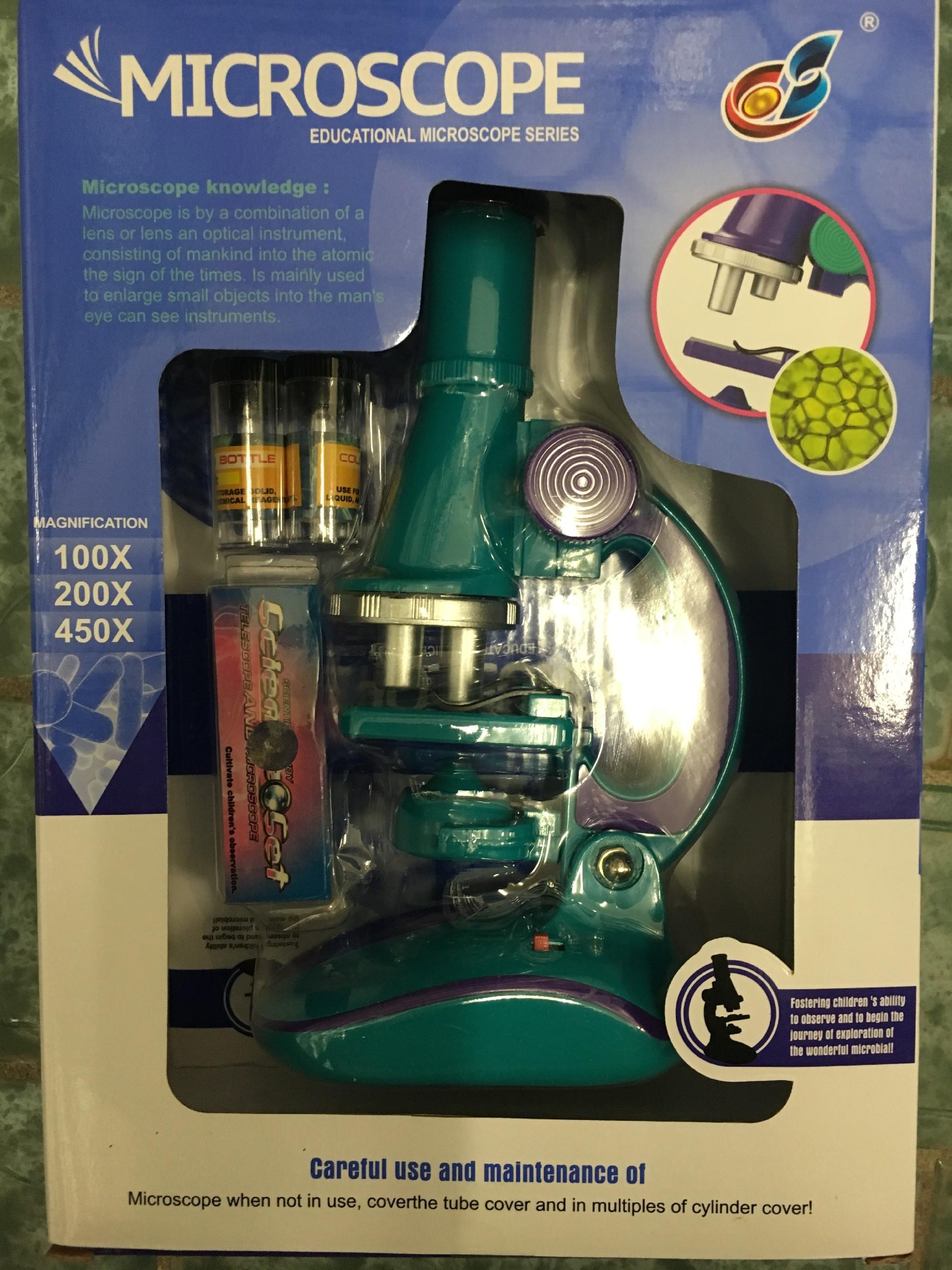 Mikroskop se světýlkem, zvětšení 100x, 200x a 450x