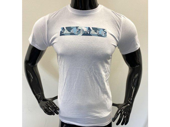 Dětské triko Slazenger bílé s modrým nápisem (Velikost 9-10)