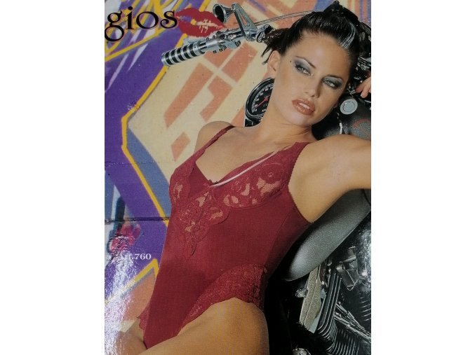 Dámské elegantní tango body s kosticí a krajkou Gios (Gios vínová 5)