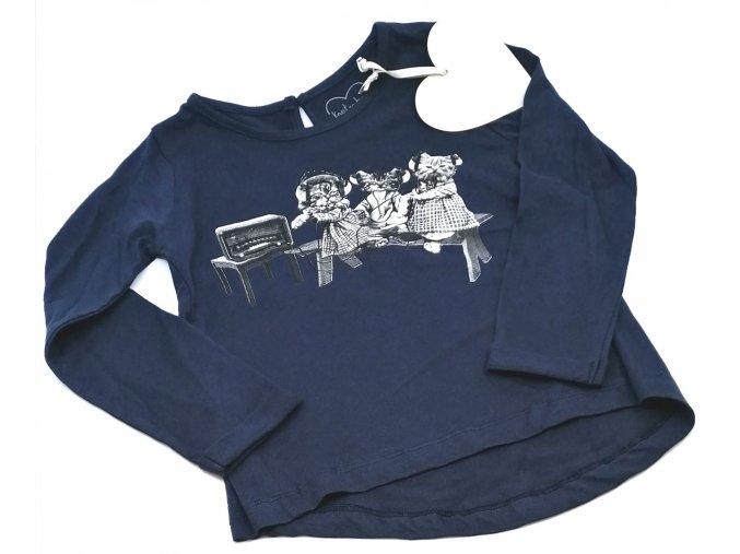Dívčí triko dlouhý rukáv, tmavě modré
