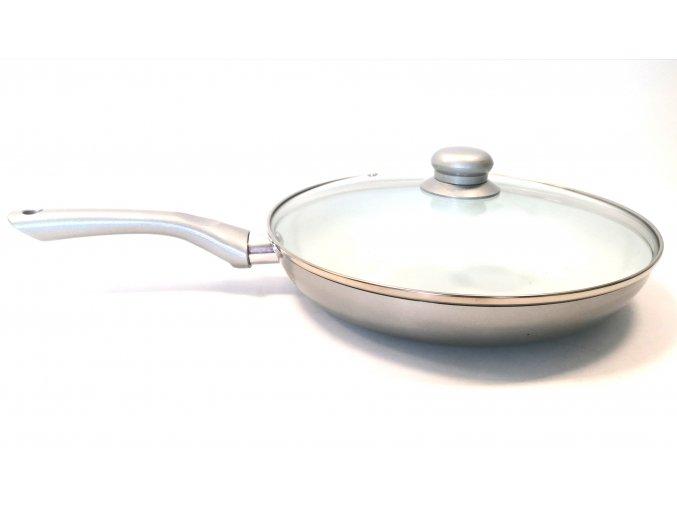 Pánev nerez s poklicí- sklo, 28cm stříbrná/šedá