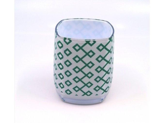 Kelímek na kartáček Casserina zelený vzor