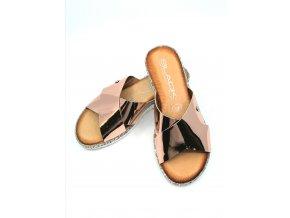 Dámské pantofle rose gold se stříbrnými kamínky zn. Black (velikosti 39)