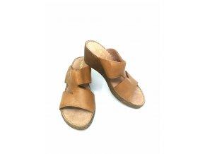 Dámské pantofle - hnědé na klínku - Rizzoli