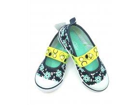 Slobby - dětská nazouvací obuv zelená s květinami