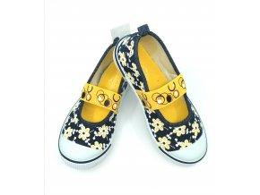 Slobby - dětská nazouvací obuv žlutá s květinami