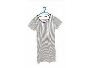 EVONA- dámské šaty s krátkým rukávem- úzký proužek (Velikost XXL)