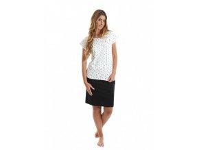 EVONA- dámské triko bílé s kytičkami