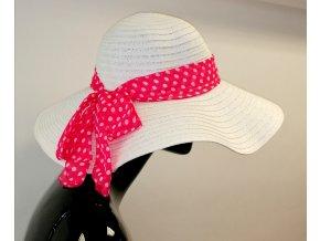 Letní klobouk slaměný bílý s mašlí