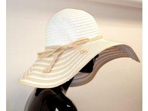 Letní slaměný klobouk bílo béžový dámský