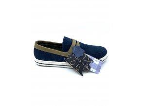 Pánské kožené mokasíny Kenboo - modré (Velikost 43)