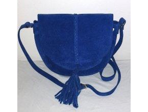 Dámská kožená crossbody kabelka Jaqueline Riu, sytě modrá