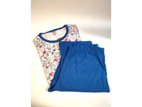 Dámské pyžamo Evona s květinovým vzorem modro růžové