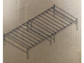 Kovová jednolůžková postel béžový rám