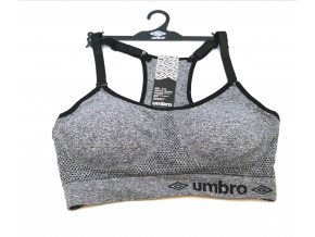 Sportovní bezešvá podprsenka UMBRO , vyjímatelné vycpávky, šedý melír