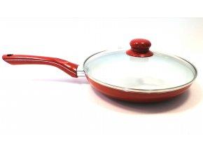 Pánev nerez 24 cm s poklicí- sklo, červená