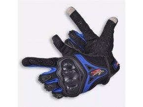 ProBiker- motocyklové rukavice, modro-černé