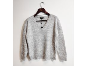 Dámský vlněný svetr přes hlavu Selected, šedý melír