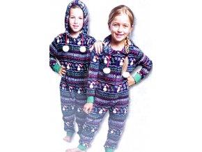 Dětské overalové pyžamo - Vánoční motiv