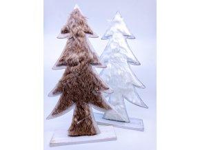Dřevěný Vánoční stromeček s umělou kožešinou