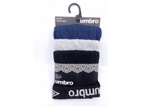 Pánské boxerky Umbro 3 kusy černá, modrá, šedá