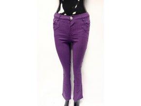 Dívčí bavlněné kalhoty tmavě fialové