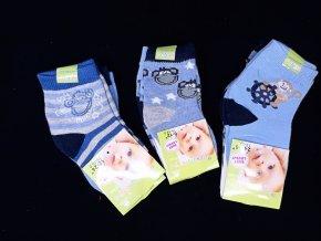 Kojenecké barevné ponožky s motivy, 3 páry