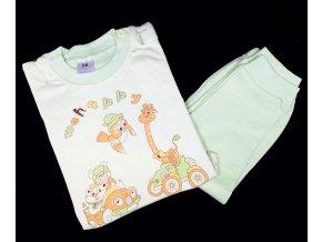 Dětské pyžamo s dlouhým rukávem, zelené